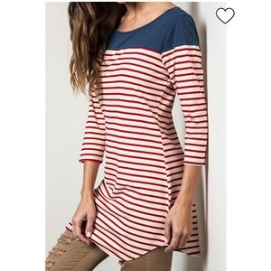 Umgee Red White Blue Striped Tunic